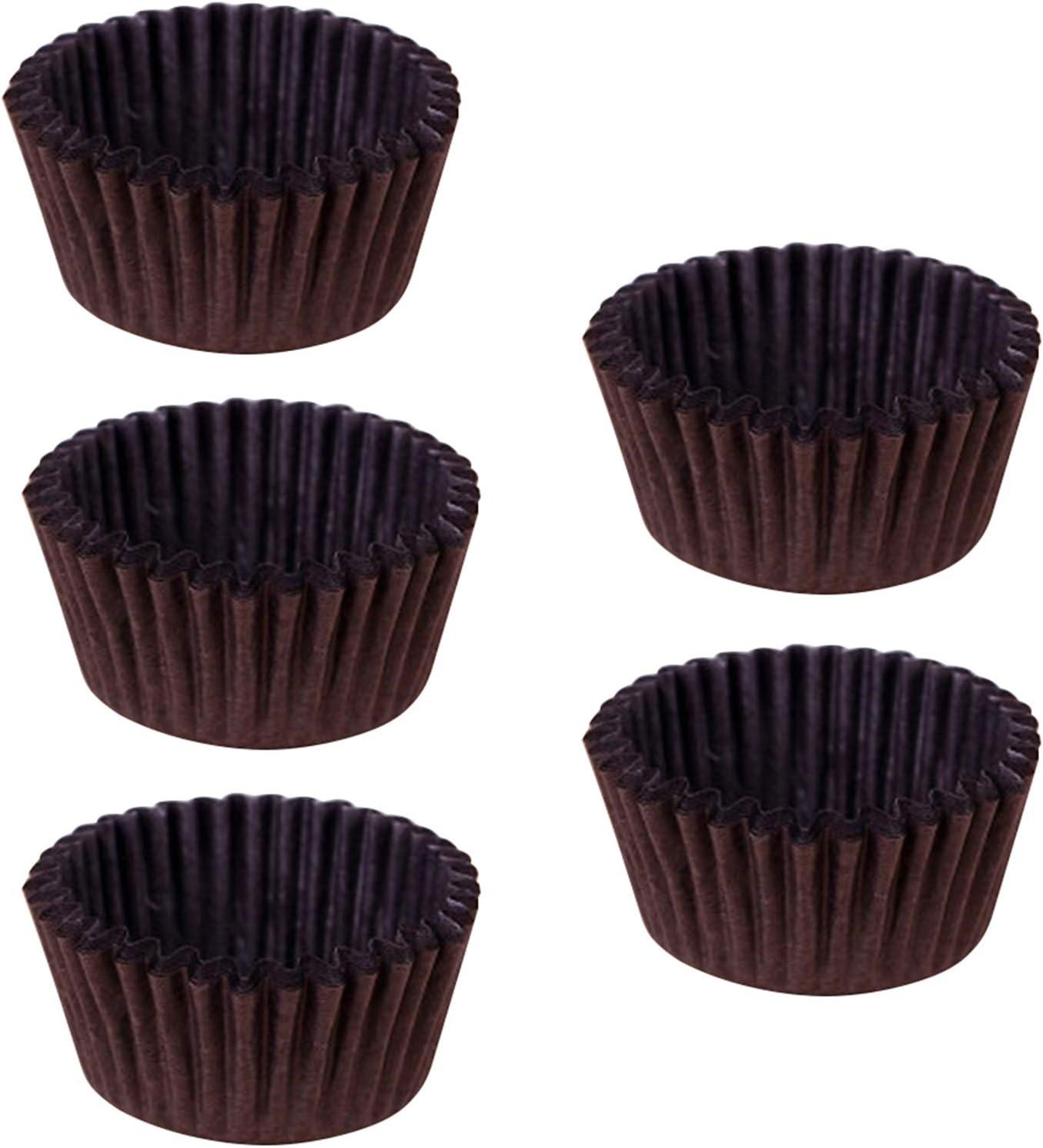 Brown 500pcs Moldes para Cupcakes,5 cm//1,97 Papel Desechable para Hornear Vasos Forros Seguro Grado Alimenticio a Prueba de Grasa Molde para Muffins Pasteles Helados Pudines
