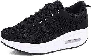 Mujer Zapatillas de Deporte Malla Air Cuña Cómodos Sneakers Mujer Casual Running Senderismo Ligero Mesh Zapatillas Gris Ne...