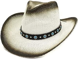 XinLin Du 2019 Fashion Straw Cowboy Hat Outdoor Summer Travel Beach Shade Turquoise Decorative Sun Hat