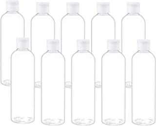 Trendbox 8oz/250ml Clear Bottles with Flip Cap Lid BPA-Free Travel Containers For Shampoos,Lotions and Massage Oils - 10 Pack