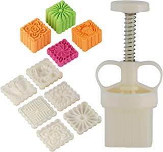 Louty Mid-Autumn Festival Hand-Press Mooncake Mold DIY Decoration Cookie Press 65g White with 6pcs Stamps(Adjustable Thickness,Easy to Clean)