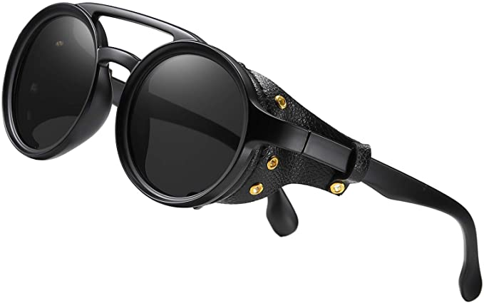 Steampunk Accessories | Goggles, Gears, Glasses, Guns, Mask KEITHION Steampunk Style Round Vintage Sunglasses Retro Eyewear For Men Women With Leather Side Glasses  AT vintagedancer.com