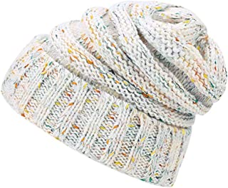 Lamdgbway Chunky Knit Beanie Colored-Spots Stretch Cable Messy Ponytail Beanie Bun Hat White