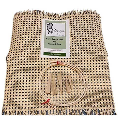 """Pressed Cane Webbing Kit, Has an 18""""x18"""" Piece of 1/2"""" Fine Open Cane Mesh, 6' of #8 Spline, 5 Wood Wedges & Full Color Instruction Booklet by Ed Hammond (Breuer)"""