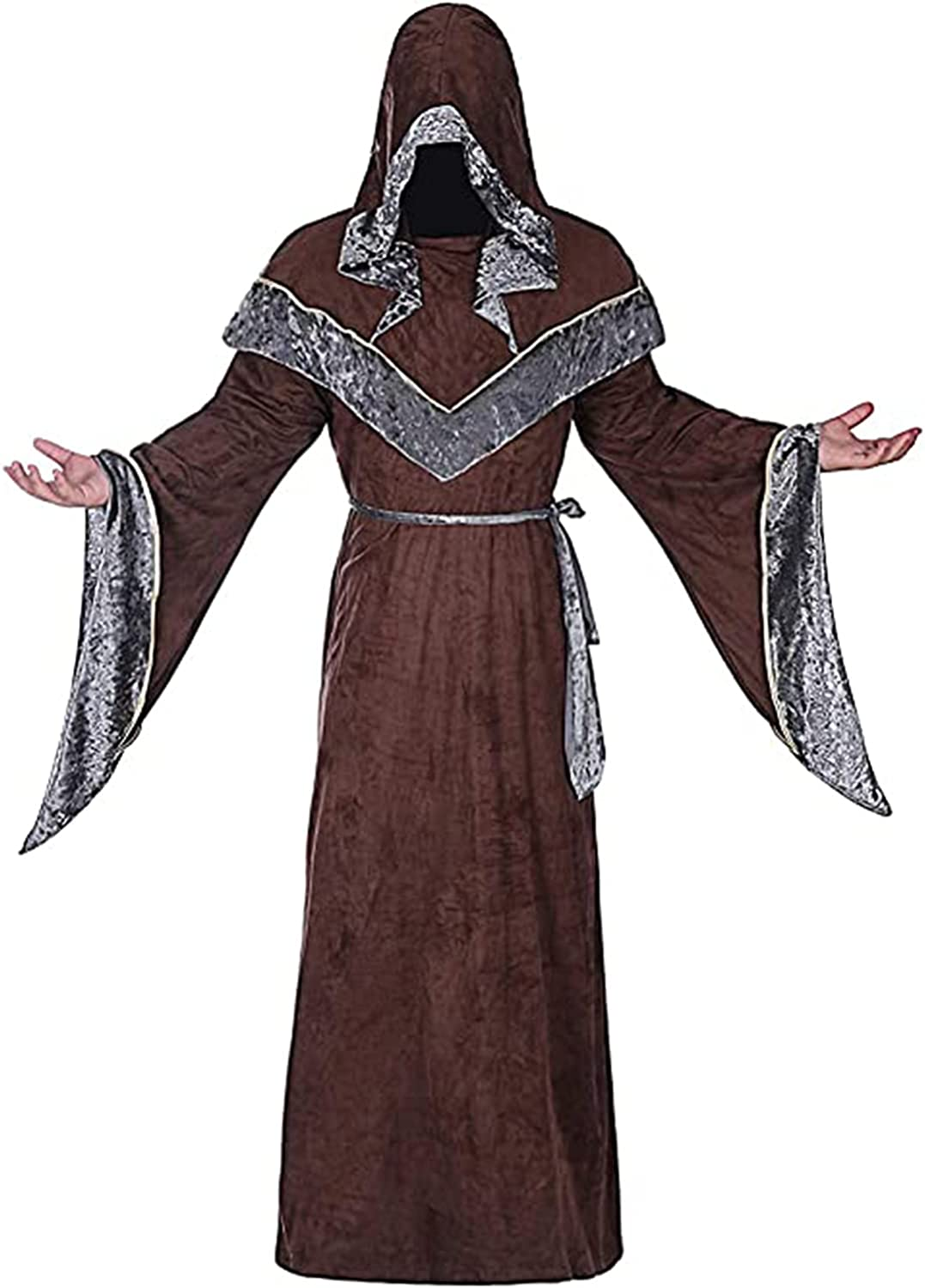Mens Halloween Costume Hooded Sorcerer Brand Cheap Sale Venue Price reduction Vintage Medieval Robe Re