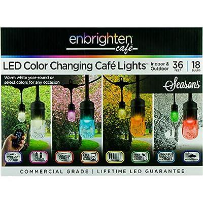 Enbrighten Vintage Seasons LED Warm White and Color Changing Café String Lights (36ft.), Wireless, 18 Lifetime Bulbs, Premium, Weatherproof, Indoor/Outdoor, Shatterproof, Commercial Grade, 37790