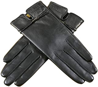 Ladies Leather Gloves Womens Soft Warm Velvety Lining Winter Gloves Touch Screen Mittens with One Belt Decoration (Black)