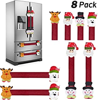 KATUMO Refrigerator Door Handle Covers Set of 8,Christmas Decorations Handle Cover Santa Snowman Kitchen Appliance Anti Skid Kitchen Fridge Microwave Oven Dishwasher Door Handle Covers Protector