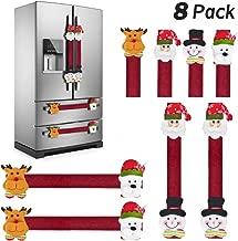 KATUMO Refrigerator Door Handle Covers Set of 8,Christmas Decorations Handle Cover Santa Snowman Kitchen Appliance Anti Skid Kitchen Fridge Microwave Oven Dishwasher Door Handle Covers Protector
