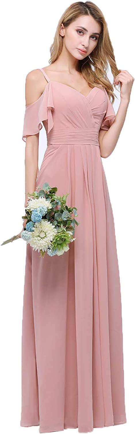 CLOTHKNOW Chiffon Maxi Dresses for Women to Wedding Party Wedding Guests Gowns