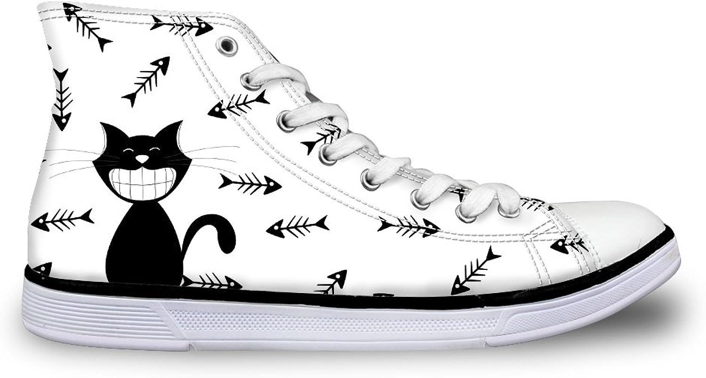 FOR U DESIGNS Cartoon Cat Women Canvas shoes Hi-Top Casual Walking Flat Sneakers