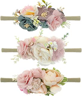 Baby Floral Headbands 3pcs Set Flower Crown Elastic HairBand for Newborn Infant Toddler Girls Accessories FLW-04