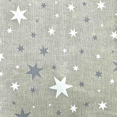 Kt KILOtela Tela de loneta Estampada - Retal de 100 cm Largo x 280 cm Ancho | Estrellas - Gris, Blanco ─ 1 Metro