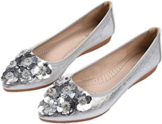 LaBiTi Womens Foldable Ballet Flats Rhinestone Comfort Wedding Shoes