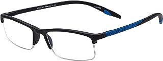 Sportex Readers Rectangular Reading Glasses Men's Semi-Rim, Blue, 1.25