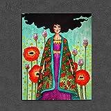 KWzEQ Cartel nórdico Chica en Lienzo de Flores Sala de Estar decoración del hogar Moderno Arte de la Pared Pintura al óleo póster,Pintura sin Marco,50x60cm