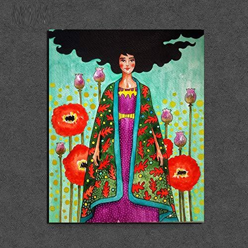KWzEQ Nordisches Plakatmädchen im Blumengemälde-Wohnzimmer-Hauptdekorations-Ölgemäldeplakat der modernen Wandkunst,Rahmenlose Malerei,50x60cm