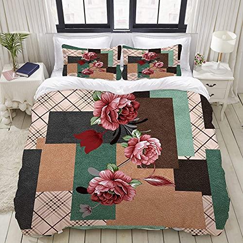 7788 Juego de ropa de cama con cierre de cremallera, diseño de bufanda de seda y tela de moda, funda de edredón de microfibra cepillada con fundas de almohada, doble (200 x 200 cm)