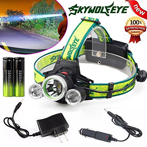 DEESEE(TM) Headlamp 10000 Lumen Headlamp CREE XM-L 3 x T6 LED Headlight 18650 Light Charger Battery