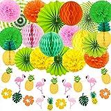 Evance Party Dekoration Papier Pompoms,Aufhängen Fächer,Ananas und Flamingo Banner Party Hochzeit Geburtstag Festival Weihnachten Event Mexikanische Fiesta (22 Stück)