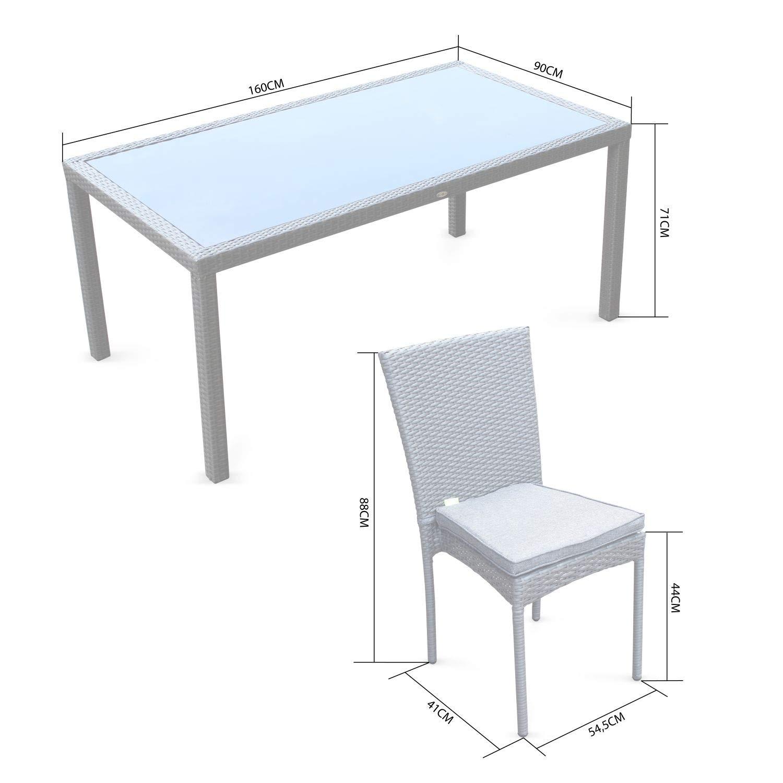 Alices Garden - Conjunto de Mesa y sillas de Jardin Ratan Sintetico - Negro, Cojines Crudo - 6 plazas - Bergamo: Amazon.es: Jardín