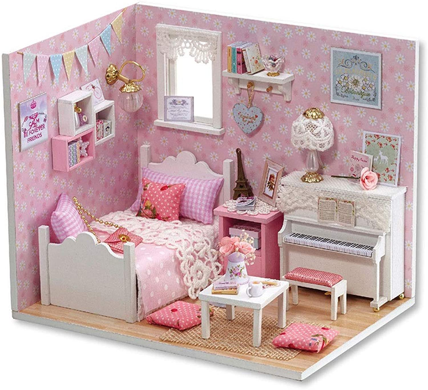 Dollhouse Miniature DIY House Kit, Hand-Assembled Educational Toy Building Model Birthday Gift -Sunshine Princess