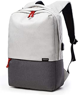 Canvas School Rucksack Bag 15.6 Inch Laptop Backpack College Bookbag USB Charging Port, Off-White