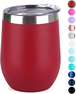 SUNWILL Vaccum Insulated Wine Tumbler with Lid (Wine Red), Stemless Stainless Steel Insulated Wine Glass 12oz, Double Wall Durable Coffee Mug, for Champaign, Cocktail, Beer, Office use