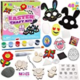 48 PCs Easter DIY Art & Craft Painting Kit Includes Rocks, Magnet Tiles, Scratch Art Masks, Wooden Fake Eggs and Rhinestone Decorate Your Own Kids Creativity Easter Basket Stuffers, Easter Party Favor