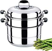 Royalford Induction-Safe Stainless Steel Large 3-Tier Food Steamer Pot with Lid| Double Layer Multi Food Cook Stock Pot - Cool Touch Handles - Stylish Design, Easy Food Release & Clean-Up - 9L