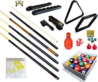 Pool Table - Premium Billiard 32 Pieces Accessory Kit - Pool Cue Sticks Bridge Ball Sets