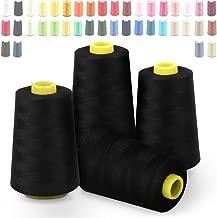 Hilos de coser de poliéster Cubewit 4 PCS hilo de coser remalladora para la máquina de coser, 20000 yardas, Negro