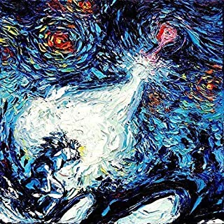 Anime Starry Night Art Poster Print van Gogh Never Saw A Power Level Over 9000 Artwork by Aja choose size and type of paper