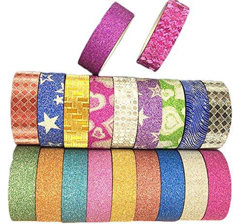 20 rollos de cinta adhesiva decorativa de LAAT, con purpurina, para escuela,...