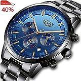 LIGE Relojes para Hombre Moda Acero Inoxidable Deportivo Analógico Reloj Cronógrafo Impermeable Negocios Reloj de Pulsera (Black Blue 1)