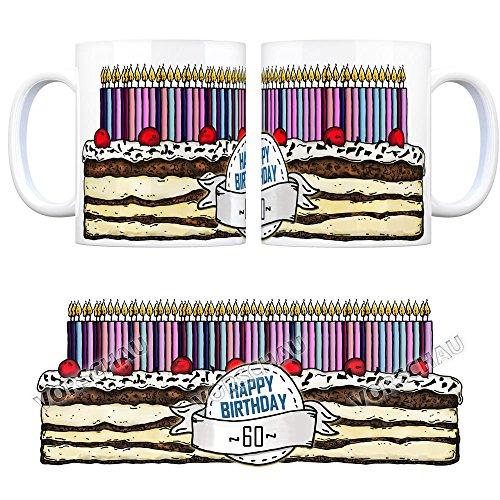 trendaffe - Kaffeebecher Tasse Kaffeetasse Becher Mug Teetasse Büro 60 Jahre Tasse Torte Kuchen 60 Kerzen Geschenkidee Geburtstagstasse Schwarzwälder Kirschtorte