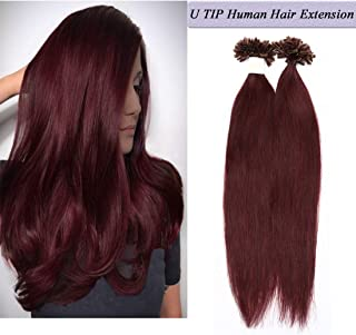 U Tip Human Hair Extensions Pre Bonded Nail Tipped Real Human Hair Piece Italian Keratin U Tip Fusion Extensions Silky Straight 100 Strands 20