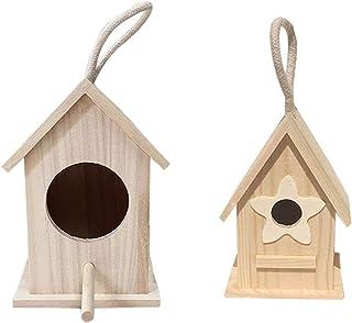 مجموعة من 2 صندوق تعشيش خشبي للطيور للطيور البرية الصغيرة، مستلزمات بيت الحيوانات الأليفة للديكور الخارجي للحدائق - مفصل ل...
