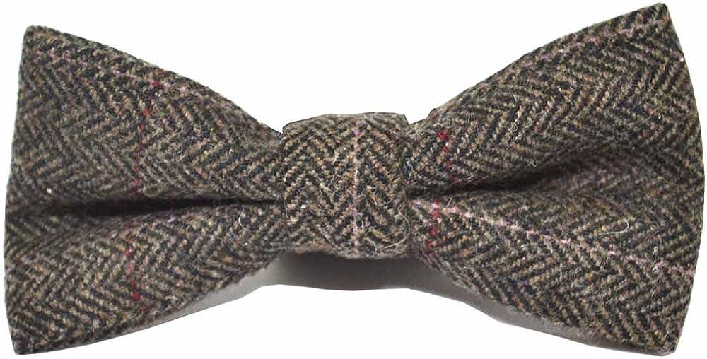 Luxury Herringbone Mocha Brown Bow Tie, Tweed