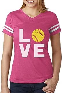 TeeStars - Love Softball - Gift for Softball Fans Women Football Jersey T-Shirt