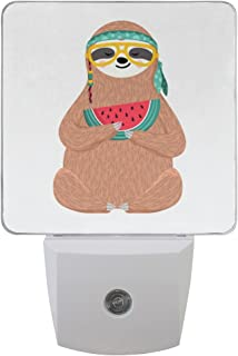 Naanle Set of 2 Cute Hipster Sloth in Glasses Headband Hold Watermelon Slice Funny Hippie Animal On White Auto Sensor LED Dusk to Dawn Night Light Plug in Indoor for Adults