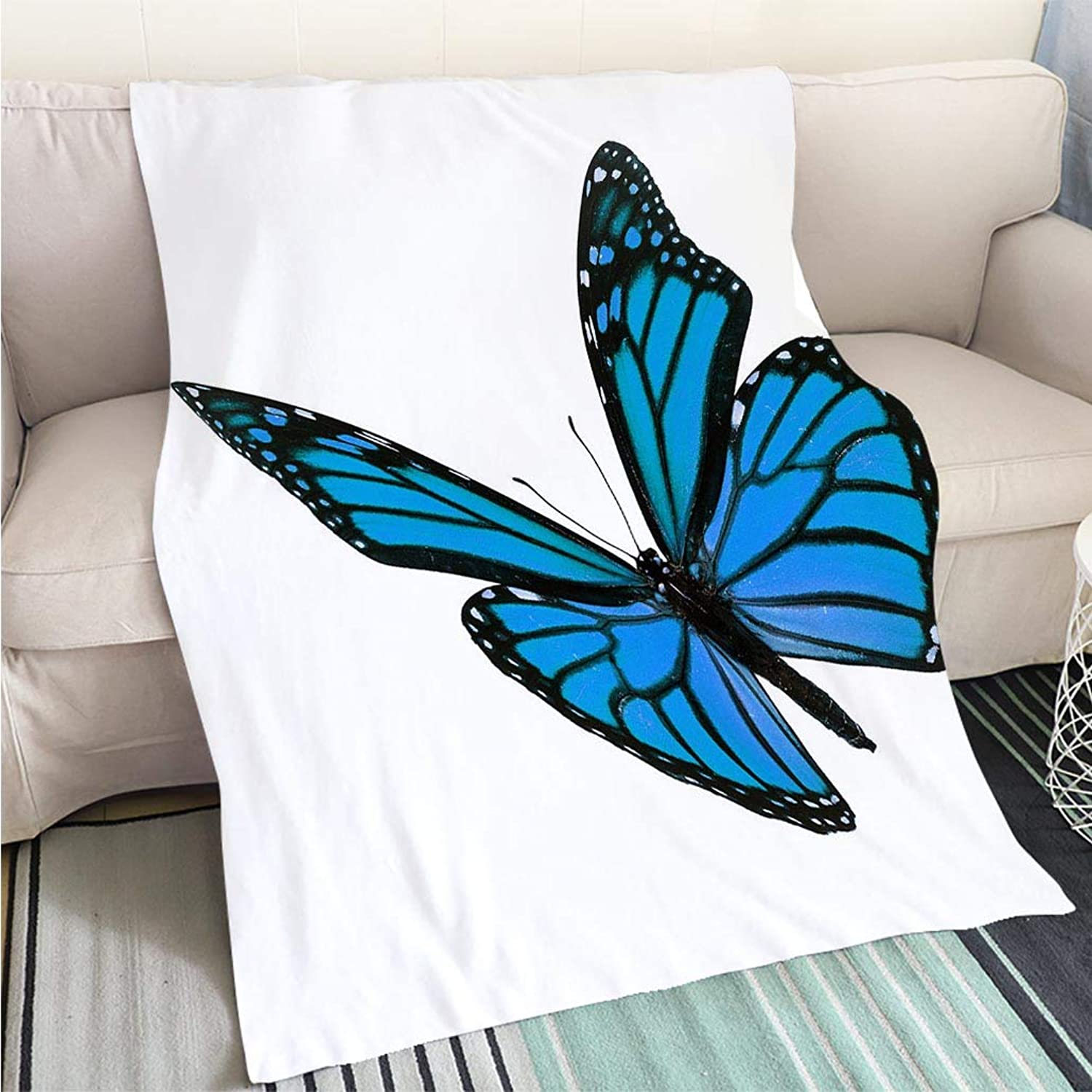 BEICICI Luxury Super Soft Blanket Beautiful bluee Monarch Butterfly Sofa Bed or Bed 3D Printing Cool Quilt
