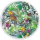 NTtie Toalla de Playa, Estera de Yoga Manto para La Playa Manta de Picnic de Viaje Multiuso de Playa Estampado Redondo de Animales Pintado a Mano.