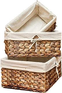 Panier de rangement Salle de bain Ensemble de 3 herbe à la main des paniers tissés rangement avec doublure, décoratif Stoc...