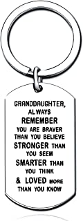 Sponsored Ad - Granddaughter Key Chain Women Girl Dog Tag Inspirational Gifts You are Braver Strong Smarter Than You Think...