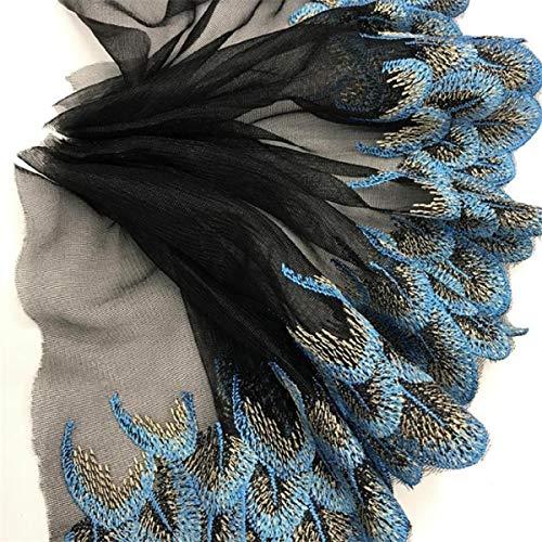 Yalulu 10 Yards Organza Peacock Colorful Lace Wedding Embroidered DIY Mesh Chiffon Ribbon Lace Trim Ribbon Sewing Supplies Craft (Black-Blue)
