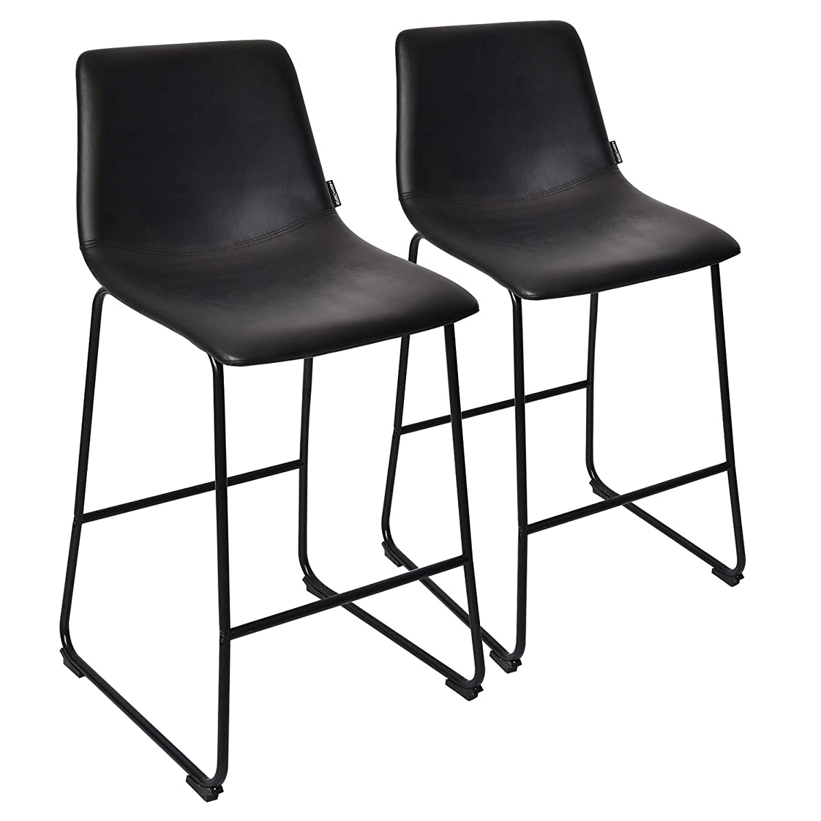 PULUOMIS Black Faux Leather Barstool Set of 2,Counter Height Stools with Metal Sled Base Home Kitchen Dining