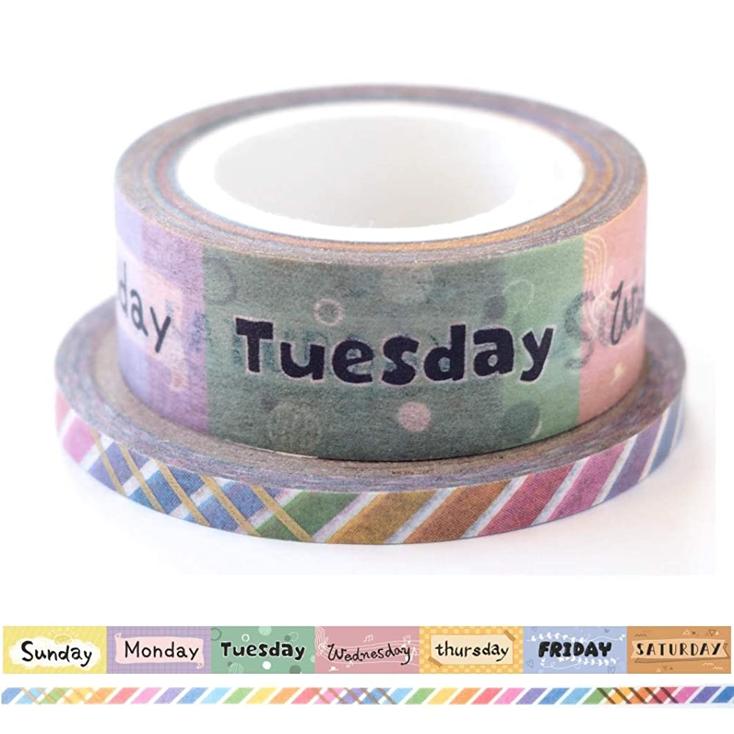 LAOMIS Japanese Washi Paper Tape for Planners/Set of 2 (Days of The Week [ LM-00001 ])
