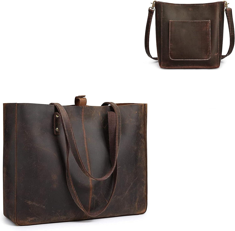 S-ZONE Women Genuine Leather Tote Bag Shoulder Handbag Bundle with Bucket Crossbody Purse