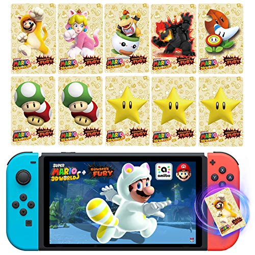 NFC Cards for Cat Mario Cards, Cat Peach, 10 Pcs Game Cards for Super Mario 3D World + Bowser's Fury